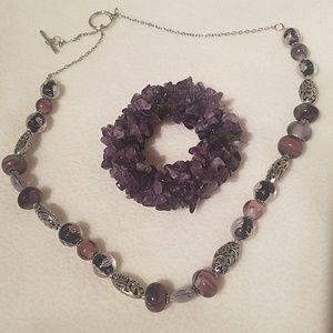Healing Purple Amethyst Crystal bracelet/necklace